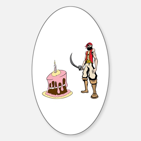 Pirate and Birthday Cake Sticker (Oval)