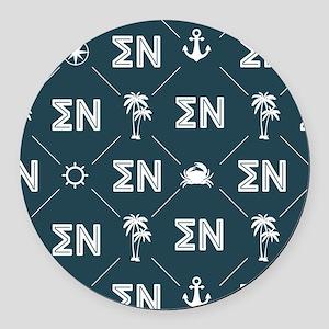 Sigma Nu Fraternity Blue Pattern Round Car Magnet