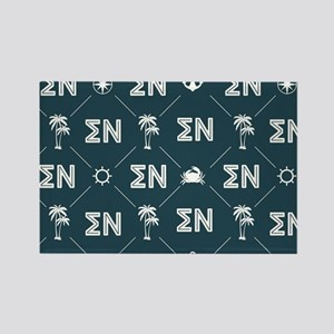 Sigma Nu Fraternity Blue Pattern Rectangle Magnet