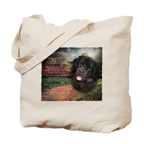 """Why God Made Dogs"" Newfoundland Tote Bag"