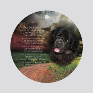 """Why God Made Dogs"" Newfoundland Ornament (Round)"
