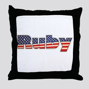 American Ruby Throw Pillow