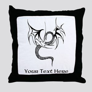Dragon with Custom Text Throw Pillow