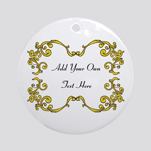 Gold Color Scrolls, Custom Text Ornament (Round)