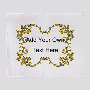 Gold Color Scrolls, Custom Text Throw Blanket