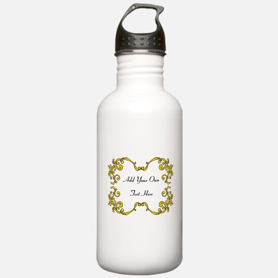 Gold Color Scrolls, Custom Text Water Bottle