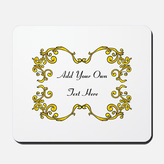 Gold Color Scrolls, Custom Text Mousepad