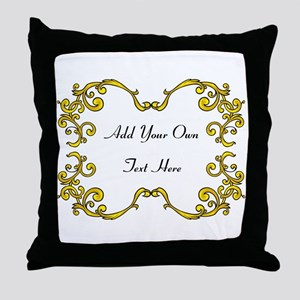 Gold Color Scrolls, Custom Text Throw Pillow