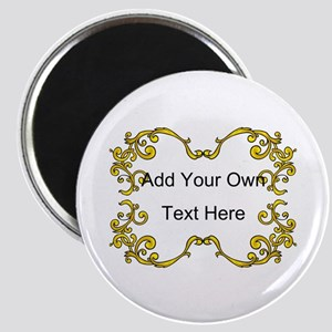 Gold Color Scrolls, Custom Text Magnet