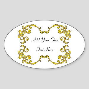 Gold Color Scrolls, Custom Text Sticker (Oval)