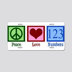 Peace Love Numbers Aluminum License Plate