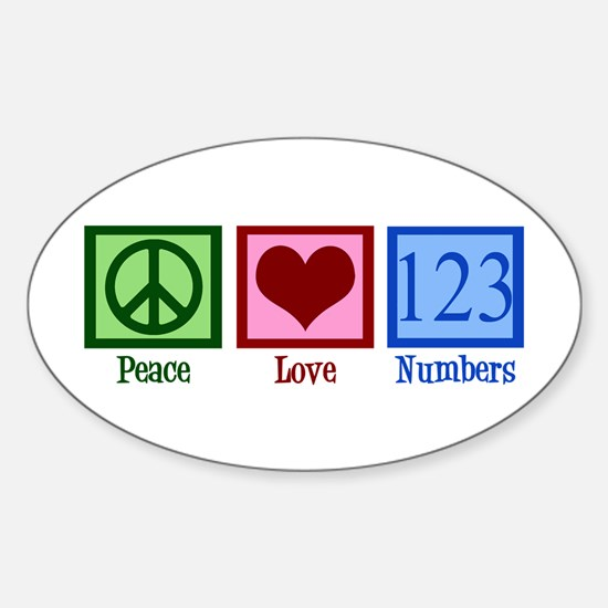 Peace Love Numbers Sticker (Oval)