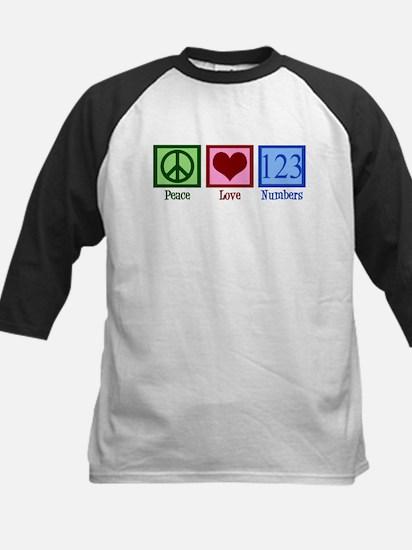 Peace Love Numbers Kids Baseball Jersey