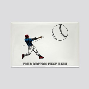 Baseball Player with Custom Text Rectangle Magnet