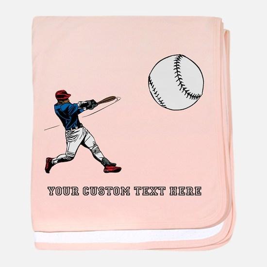 Baseball Player with Custom Text baby blanket