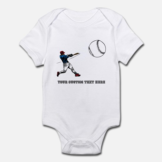Baseball Player with Custom Text Infant Bodysuit