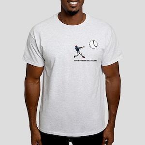 Baseball Player with Custom Text Light T-Shirt