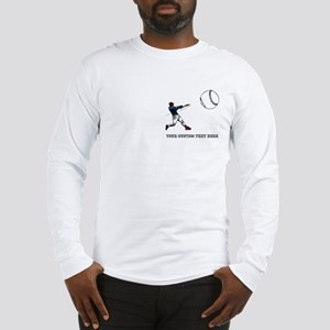 Baseball Player with Custom Text Long Sleeve T-Shi