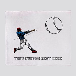 Baseball Player with Custom Text Throw Blanket