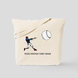 Baseball Player with Custom Text Tote Bag