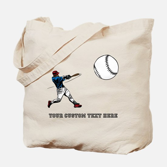Baseball Player with Custom Text Tote Bag