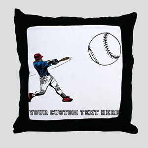 Baseball Player with Custom Text Throw Pillow