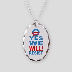 Resist Obama Necklace Oval Charm