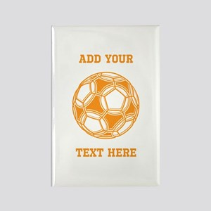 Soccer Ball. Orange with Text Rectangle Magnet