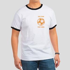 Soccer Ball. Orange with Text Ringer T