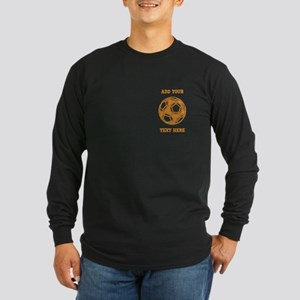 Soccer Ball. Orange with Text Long Sleeve Dark T-S