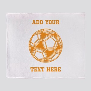 Soccer Ball. Orange with Text Throw Blanket