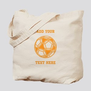 Soccer Ball. Orange with Text Tote Bag