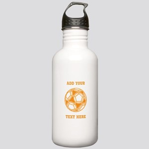 Soccer Ball. Orange with Text Stainless Water Bott