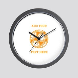 Soccer Ball. Orange with Text Wall Clock