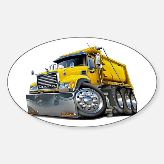 Mack Dump Truck Yellow Sticker (Oval)