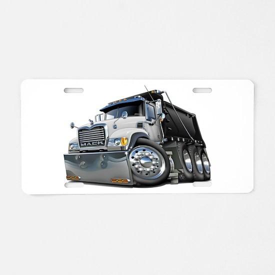 Mack Dump Truck White-Black Aluminum License Plate