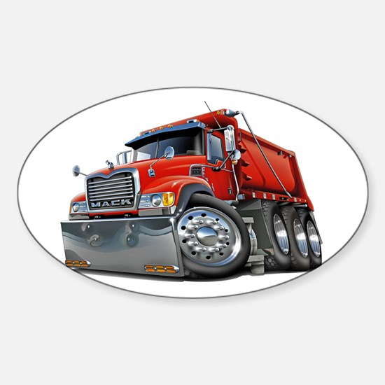 Mack Dump Truck Red Sticker (Oval)