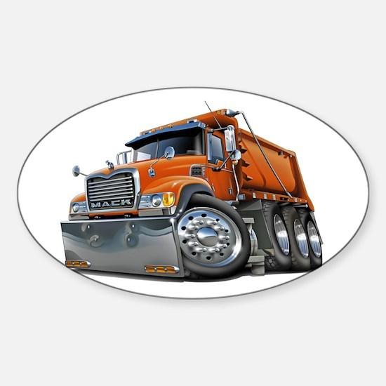 Mack Dump Truck Orange Sticker (Oval)