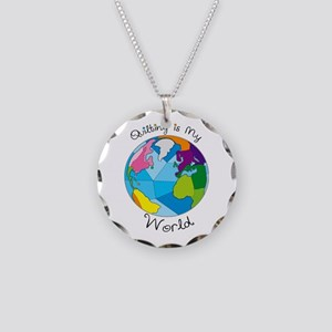 Quilter World Necklace Circle Charm