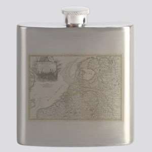 Vintage Map of Holland and Belgium (1775) Flask