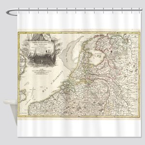 Vintage Map of Holland and Belgium Shower Curtain