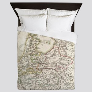 Vintage Map of Holland and Belgium (17 Queen Duvet