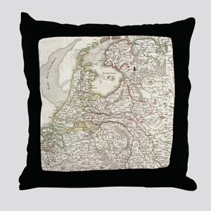 Vintage Map of Holland and Belgium (1 Throw Pillow