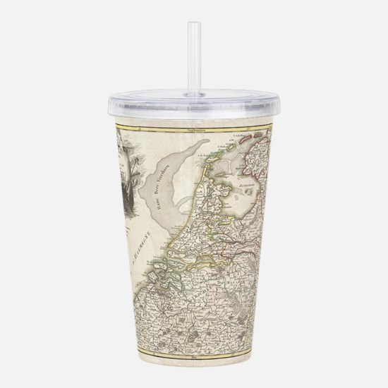 Vintage Map of Holland Acrylic Double-wall Tumbler