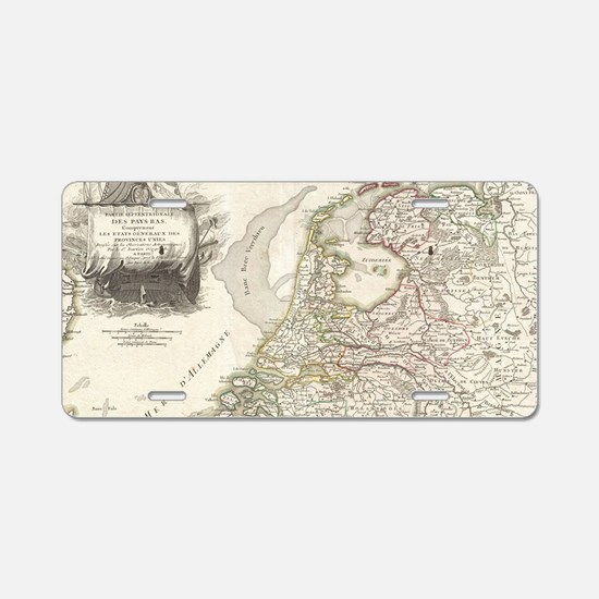 Vintage Map of Holland and Aluminum License Plate