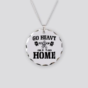 Go Heavy Or Go Home Weightlifting Necklace Circle