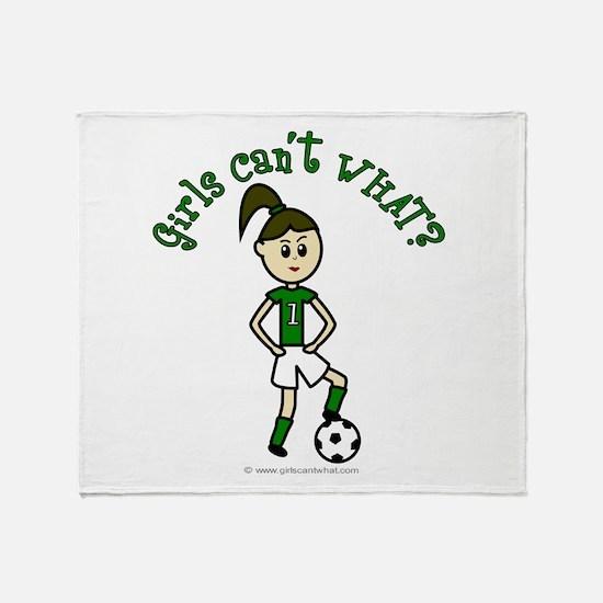 Light Green Soccer Throw Blanket