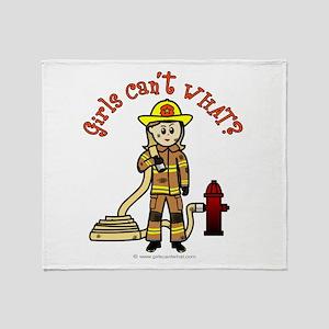 Blonde Firefighter Girl Throw Blanket