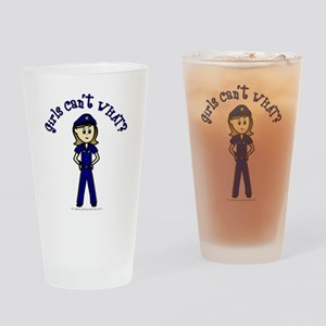 Light Police Woman Drinking Glass