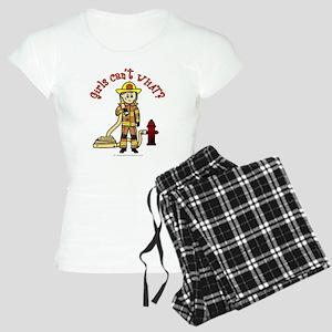 Blonde Firefighter Girl Women's Light Pajamas